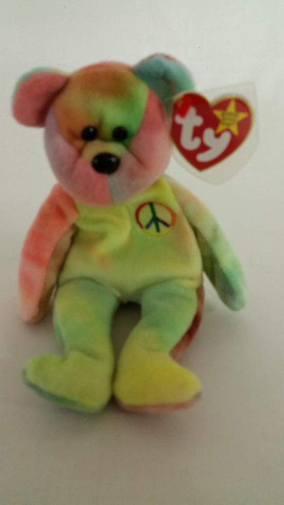 Ty Beanie Baby 1996 PEACE BEAR TAG ERRORS Retired