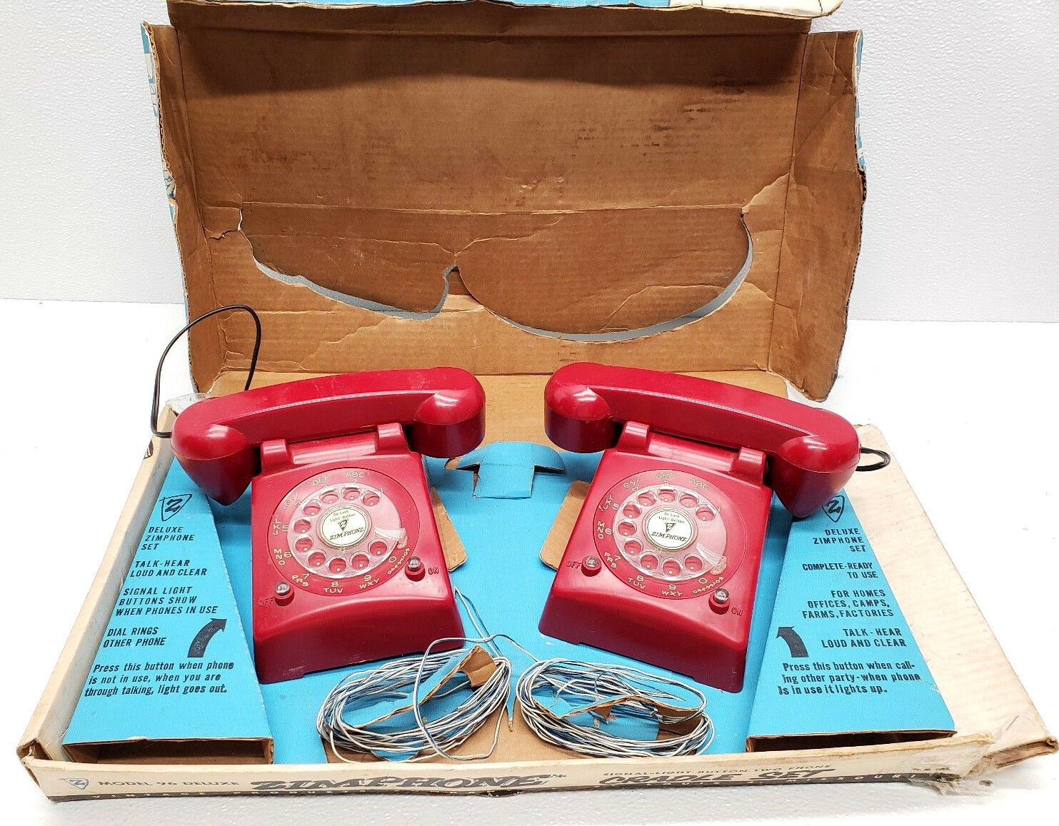 Vintage Zimphone Dial Bell Ringing 2 RARE rot Model 96 Deluxe