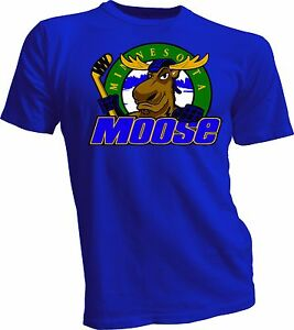 MINNESOTA-MOOSE-Defunct-St-Paul-MN-IHL-Hockey-Team-Retro-Blue-T-SHIRT-NEW