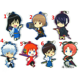 Anime-GINTAMA-rubber-Keychain-Key-Ring-Race-Straps-Cosplay