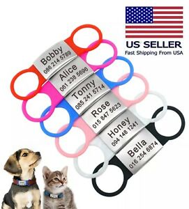 Personalized-Slide-on-Pet-Dog-Cat-Tags-ID-Engraved-Name-Custom-Puppy-Collar