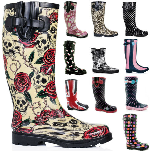 NEW WOMENS FLAT FESTIVAL WELLIES WELLINGTON KNEE HIGH RAIN BOOTS US 5-10