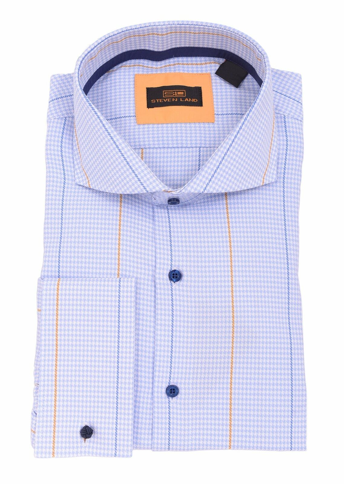 Steven Land Light bluee Houndstooth Spread Collar French Cuff Cotton Dress Shirt