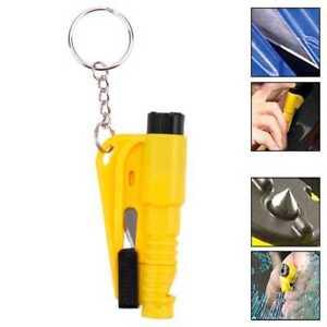 Herramienta de Rescate Seguridad Rompe Cristales Cinturones Silbato Amarillo