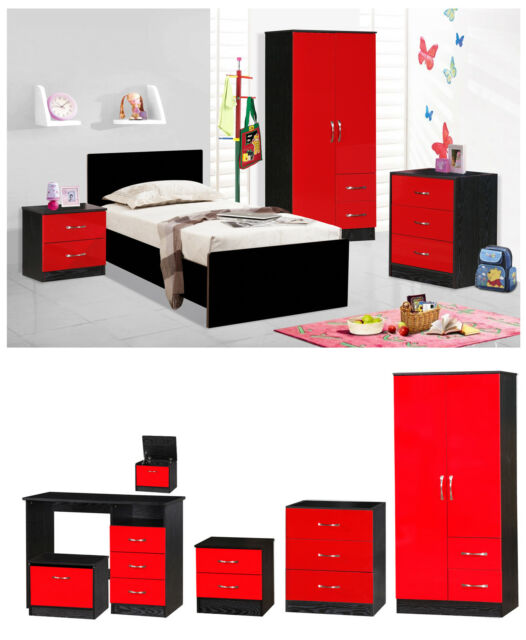 Red Gloss Ash Black 5 Piece Bedroom Set Furniture Units Double Wardrobe