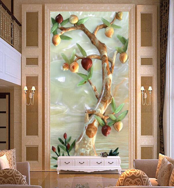 3D Jade Peach Tree 620 Wall Paper Murals Wall Print Decal Wall Deco AJ WALLPAPER