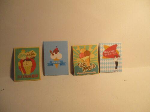 4 Casa de Muñecas en Miniatura Retro Icecream carteles AA