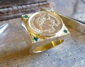 100% QualitäT Siegelring Gold Quadrat Xxl Mit -buchse,teil 20 Franken Napoleon Lorbeerkranz,4