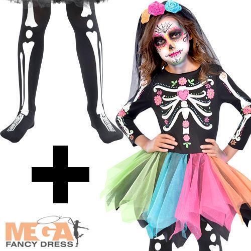 Sugar Skull Tights Girls Fancy Dress Halloween Skeleton Childrens Kids Costume