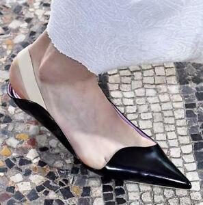 Patent-Leather-Womens-Pointed-Toe-Pumps-Low-Heels-Stilettos-Shoes-Slingback-Size