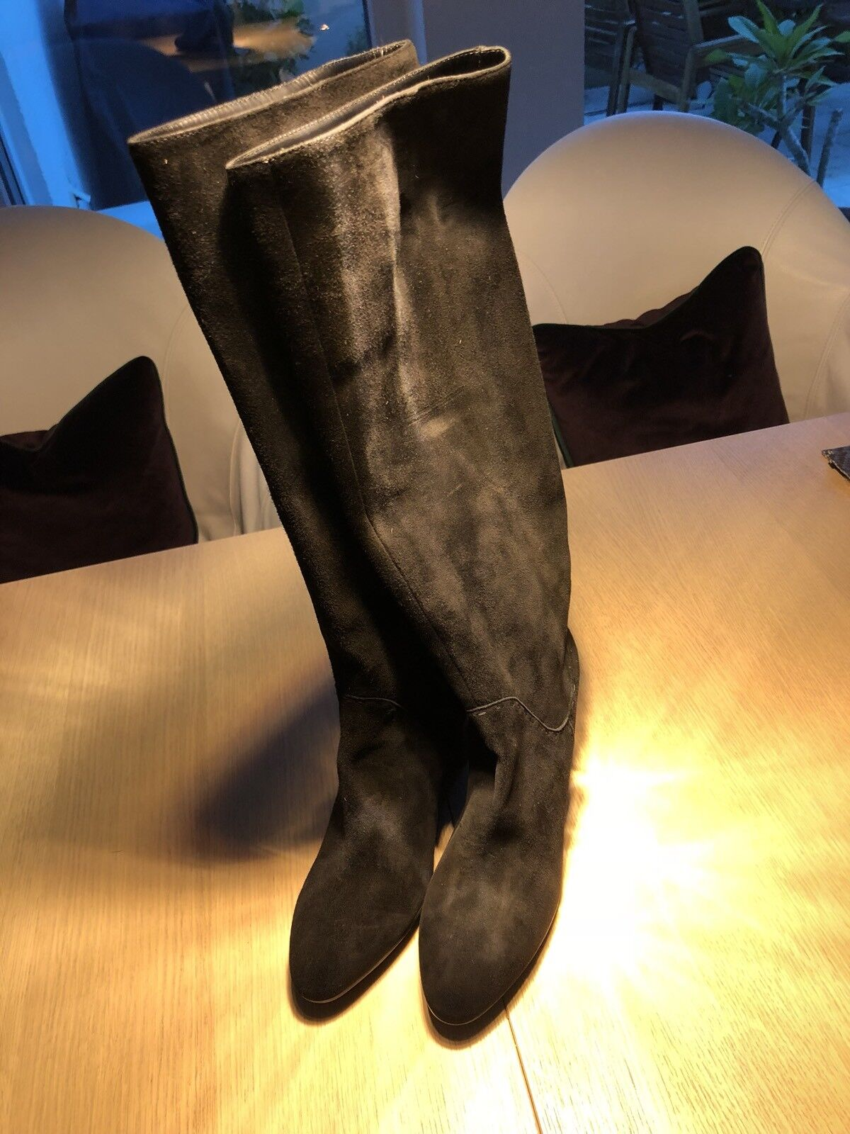 TODs Stiefel in tollem schwarzen Veloursleder mit Keilabsatz Gr. 40 Brandneu