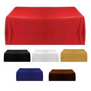 Raso-di-Seta-Tovaglia-Colore-Copertura-Matrimonio-Compleanno-Festa-Cover-145cm