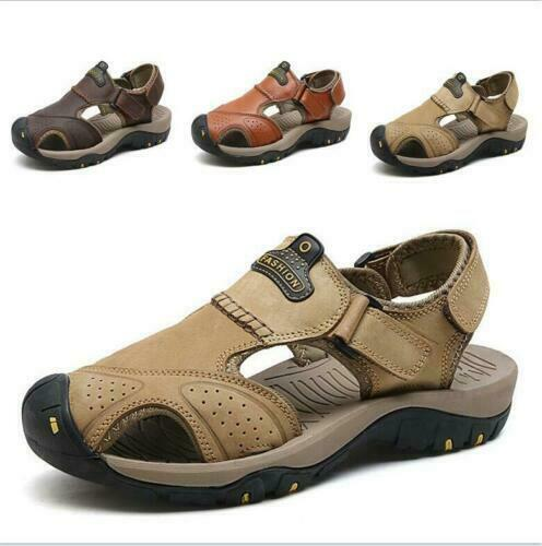 New Men/'s Summer Hiking Comfy Leather Beach Shoes Closed Toe Fisherman Sandals