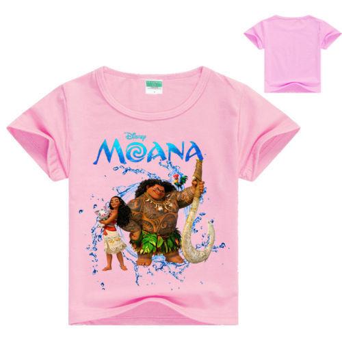Kids Boys Girls Summer Moana T-Shirts Cartoon Tee Short Sleeve Casual Tops 3-10Y