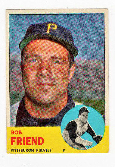 1963 Topps Bob Friend Pittsburgh Pirates 450 Baseball Card