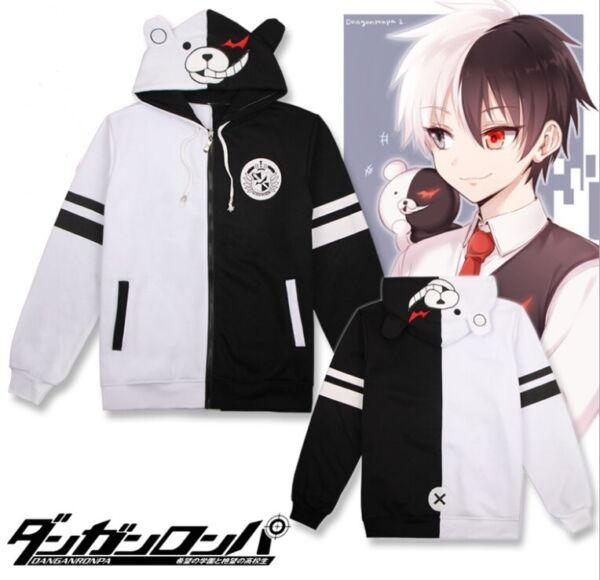 Anime Danganronpa Monokuma Cosplay Unisex Jacket Hoodie Sweatshirt Costume