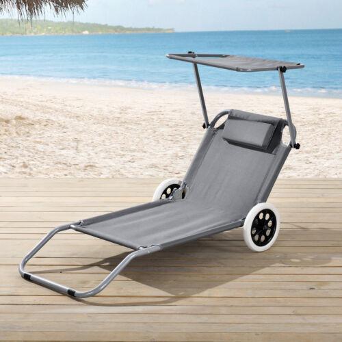 casa.pro Sonnenliege mit Sonnendach und Rollen Gartenliege Strandliege Liege