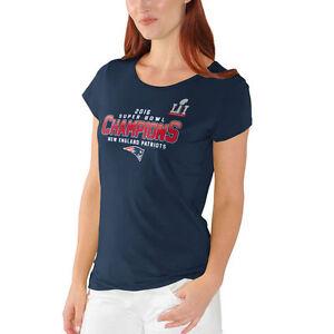 purchase cheap 803a6 87ed2 Details about New England Patriots Women's Super Bowl LI Champions End Zone  Cap Sleeve T-Shirt