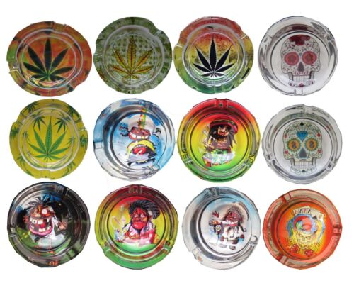 Novelty Glass Ashtray Home Pub Cafe Printed Round Cannabis Leaf Pirate Skull