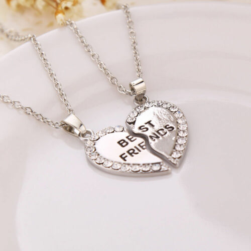 Best Friend Necklace Charm Friendship Bracelets BFF Gifts Pendant Jewelry Silver