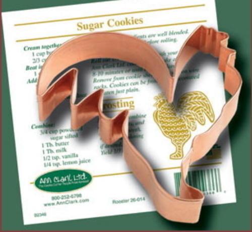 Ann Clark ROOSTER COPPER COOKIE CUTTER W//Recipe   USA