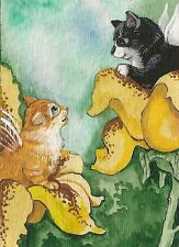 PRINT OF ACEO PAINTING RYTA ANGEL FAIRY TUXEDO CAT TABBY KITTENS FLOWERS SPRING