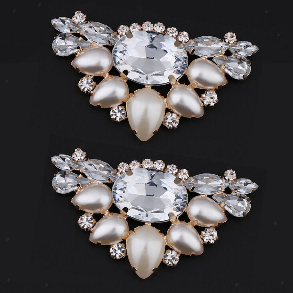 1 Pair Diamante Crystal Rhinestone Crystal Champagne Shoe Clip Brooch Charms