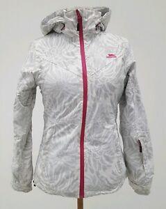 Ladies-Ski-Jacket-XS-TRESPASS-White-Grey-TP50-1000MM-Luxe-Snow-Coat
