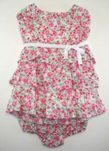 e5c12bc164 Baby Girl 3 6 mo RALPH LAUREN Floral Tiered Ruffle Dress Bloomer 2 ...