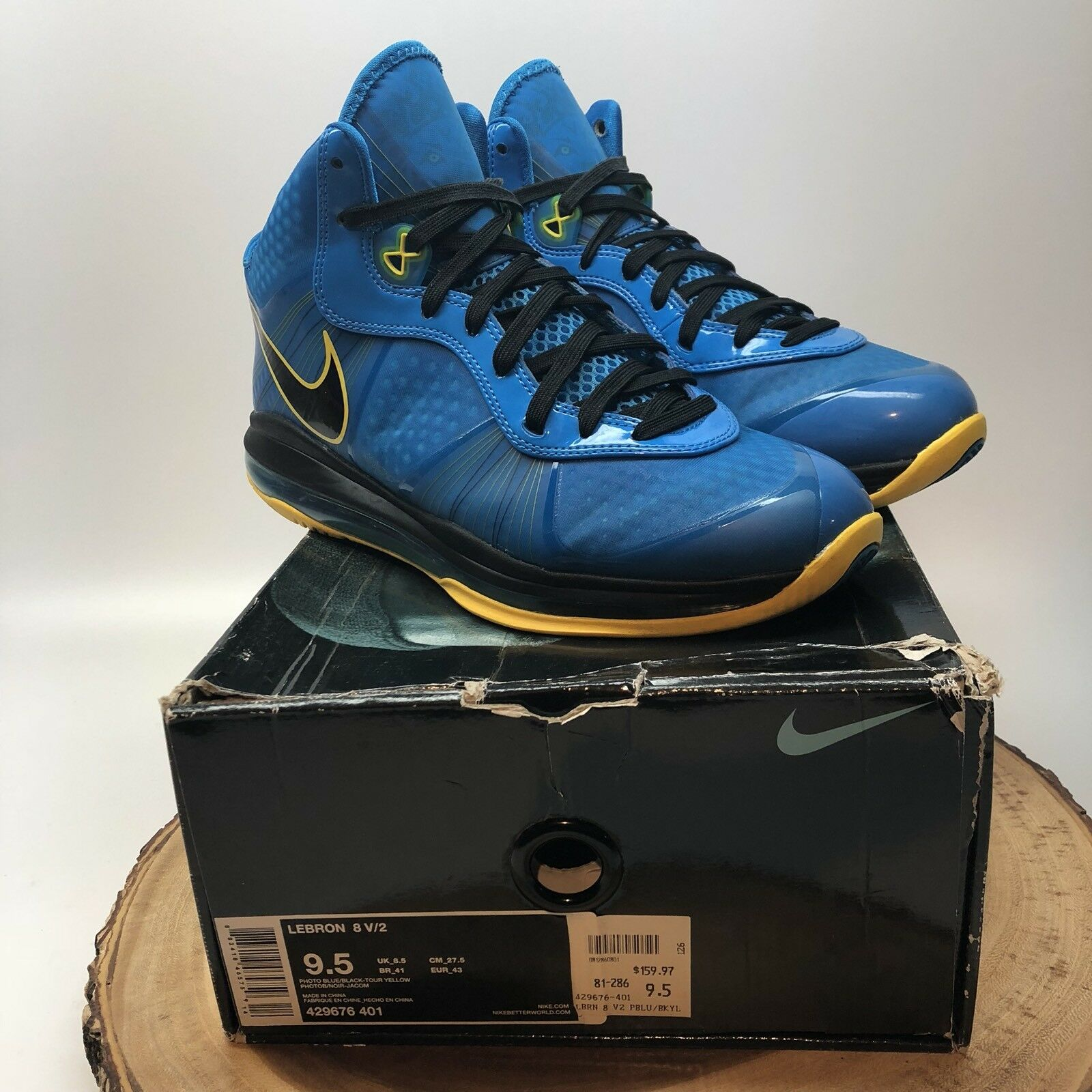 Nike Air Max LEBRON VIII 8 V/2 ENTOURAGE PHOTO BLUE BLACK YELLOW 429676-401 9.5 New shoes for men and women, limited time discount