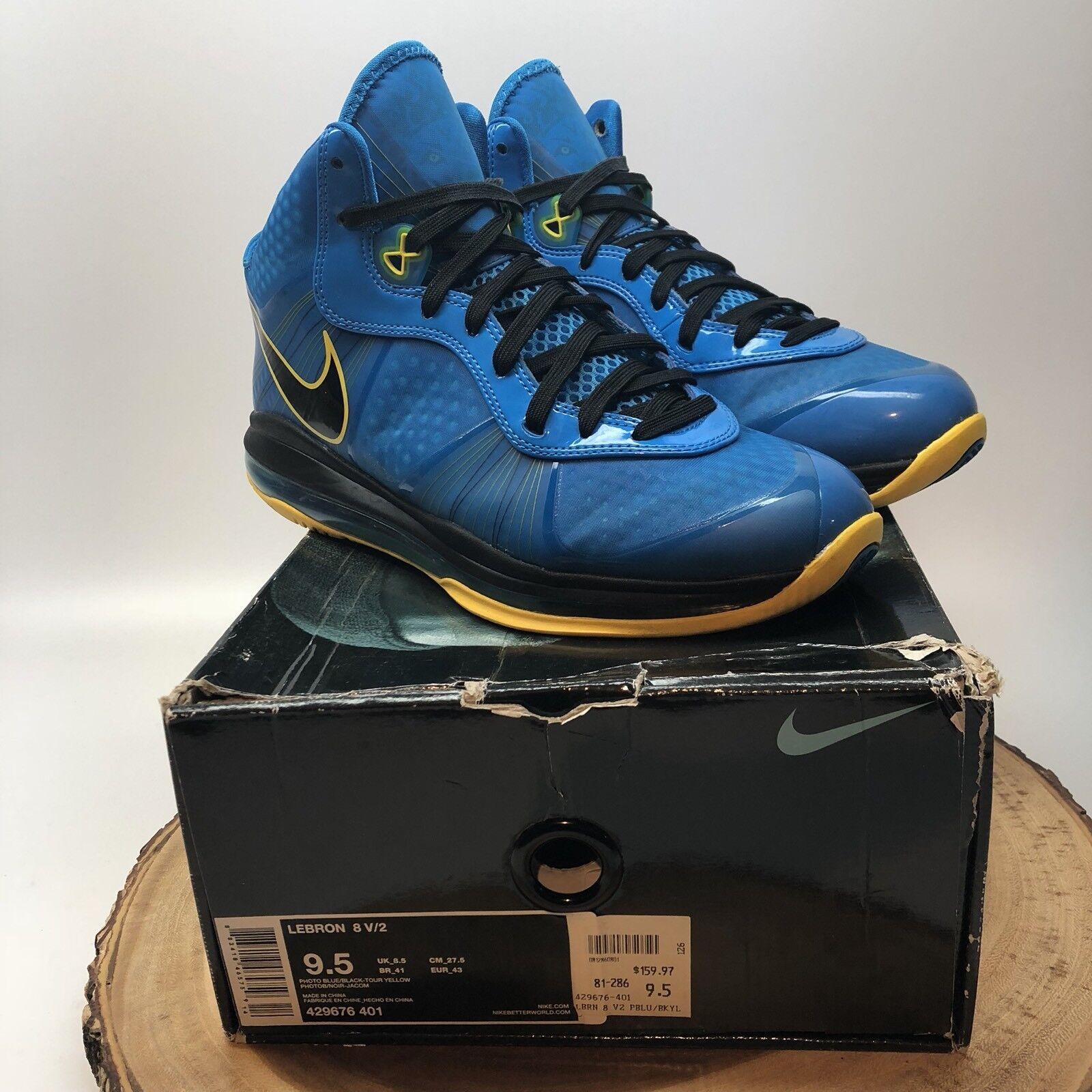 Nike Air Max LeBron 2 VIII 8 V / 2 LeBron Entourage foto azul negro amarillo 429676-401 9,5 bf0429