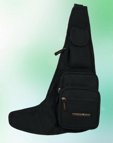 Herren Tasche Schultertasche Brusttasche Segeltuch Schwarz 44 32 7 cm