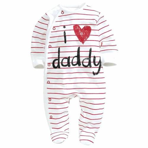 Babystrampler I love Mama Papa-Baby-Jungen Kostüm Overall Kinder Kleidung # B1E2