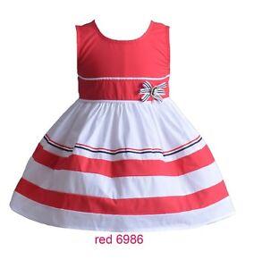 4328bb5f3259d Fille Coton Robe Été Soirée en Bleu Rouge Blanc 3 4 5 6 7 Ans