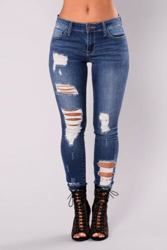 NUOVO Donna Celeb Stretch Strappato Skinny Vita Alta Pantaloni Denim Jeans 6-18