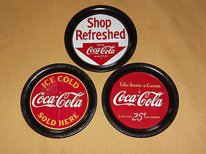VINTAGE-1993-3-COCA-COLA-COKE-METAL-TIN-COASTERS-SET