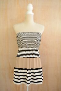 Outback-Red-Beige-BLACK-ivory-striped-strapless-stretch-top-size-M