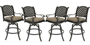 Patio-bar-stools-Set-of-4-Outdoor-Furniture-Nassau-Swivel-Cast-Aluminum-Bronze