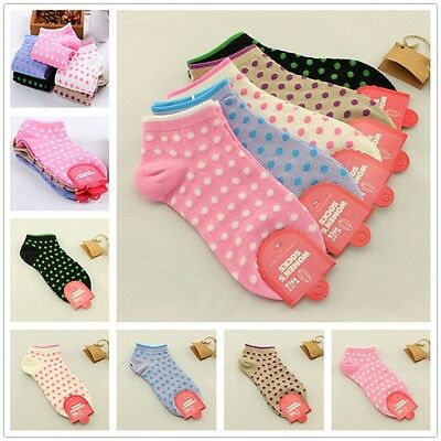 5 10 Pairs Lot Womens Ladies Cute Small Polka Dots Cotton Ankle Socks 5 Colors