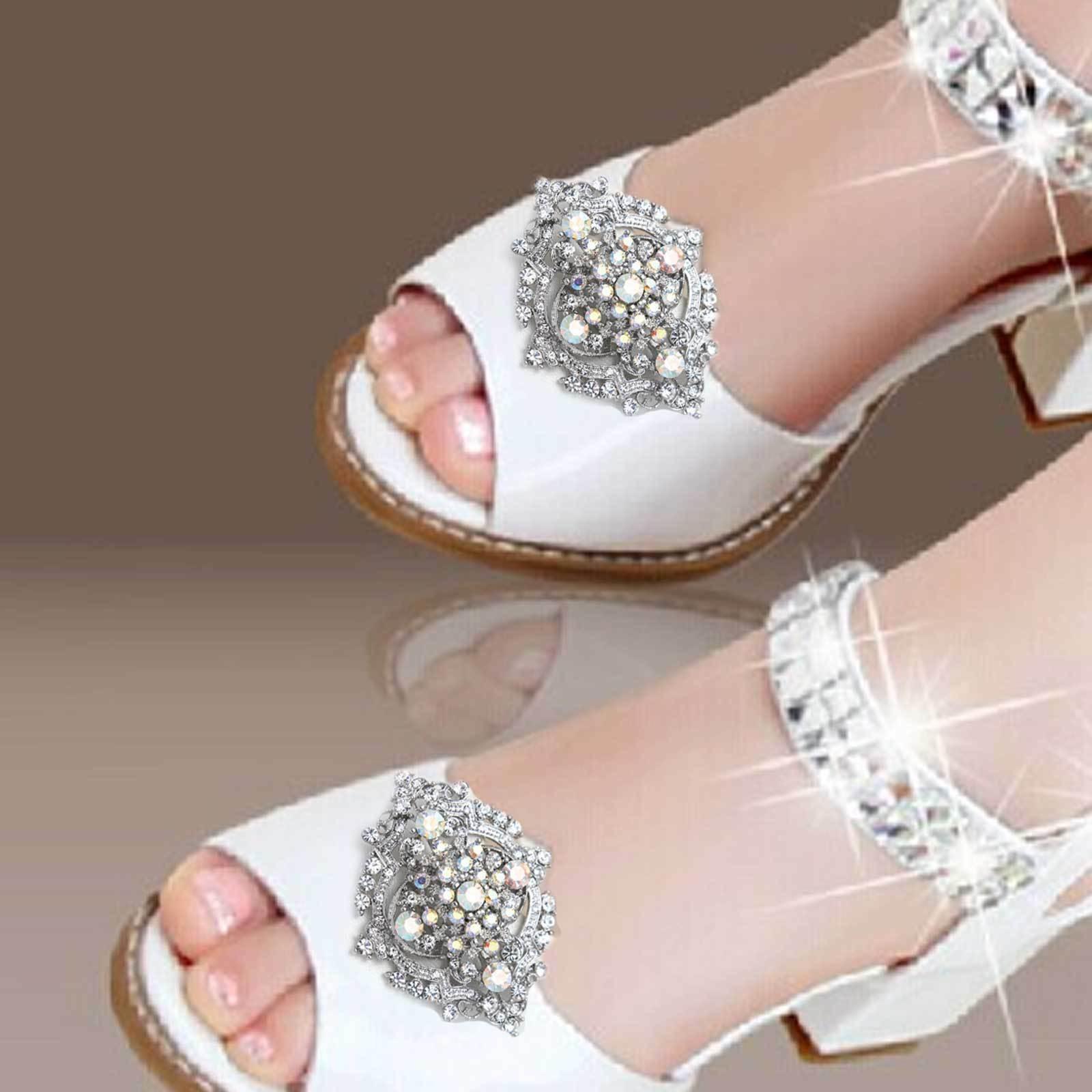 2 Pcs Vintage Aurora Rainbow Crystal Wedding Shoe Clips Bridal Shoes Decoration