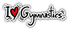 "I Love Gymnastics Slogan Car Bumper Sticker Decal 8"" x 3"""