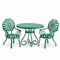 American Girl Kit's Table & Chairs For Doll Ruthie Green Metal Furniture
