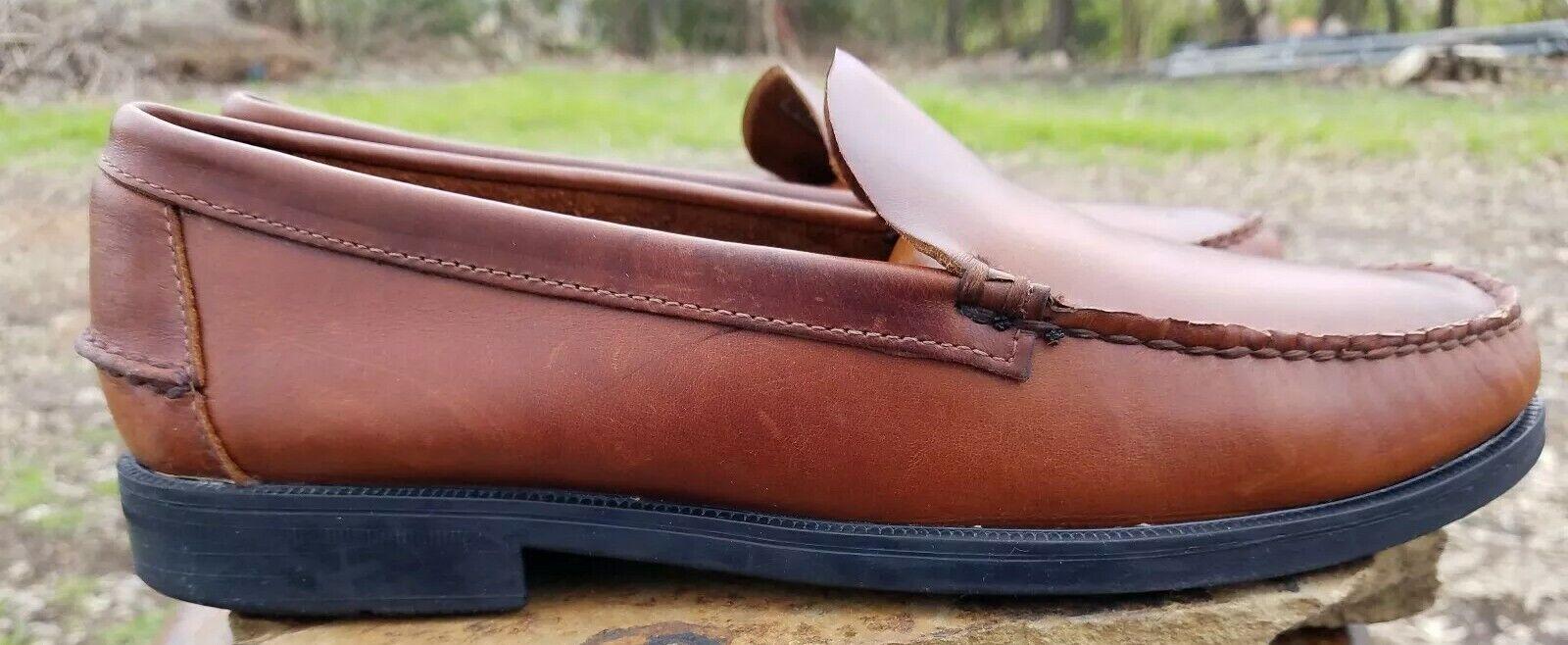Sebago Men shoes Handsewn USA Brown Leather Moc Toe Slip-on Casual Loafer 11