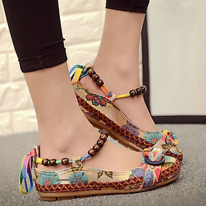 Women-Ethnic-Lace-Up-Beading-Round-Toe-Comfortable-Flats-Loafers-Shoes-Exquisite
