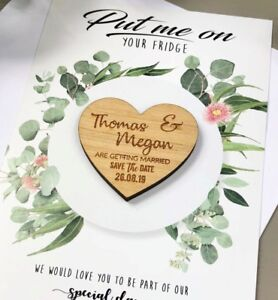 cd20a82f6d378 Details about Save The Dates Cards Wedding Personalised Wooden Magnet  Fridge Rustic Invitation