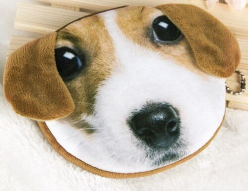 SOFT FURRY BROWN DOG COIN PURSE CHILDRENS KIDS BAG MAKEUP BEAGLE JACK RUSSELL UK