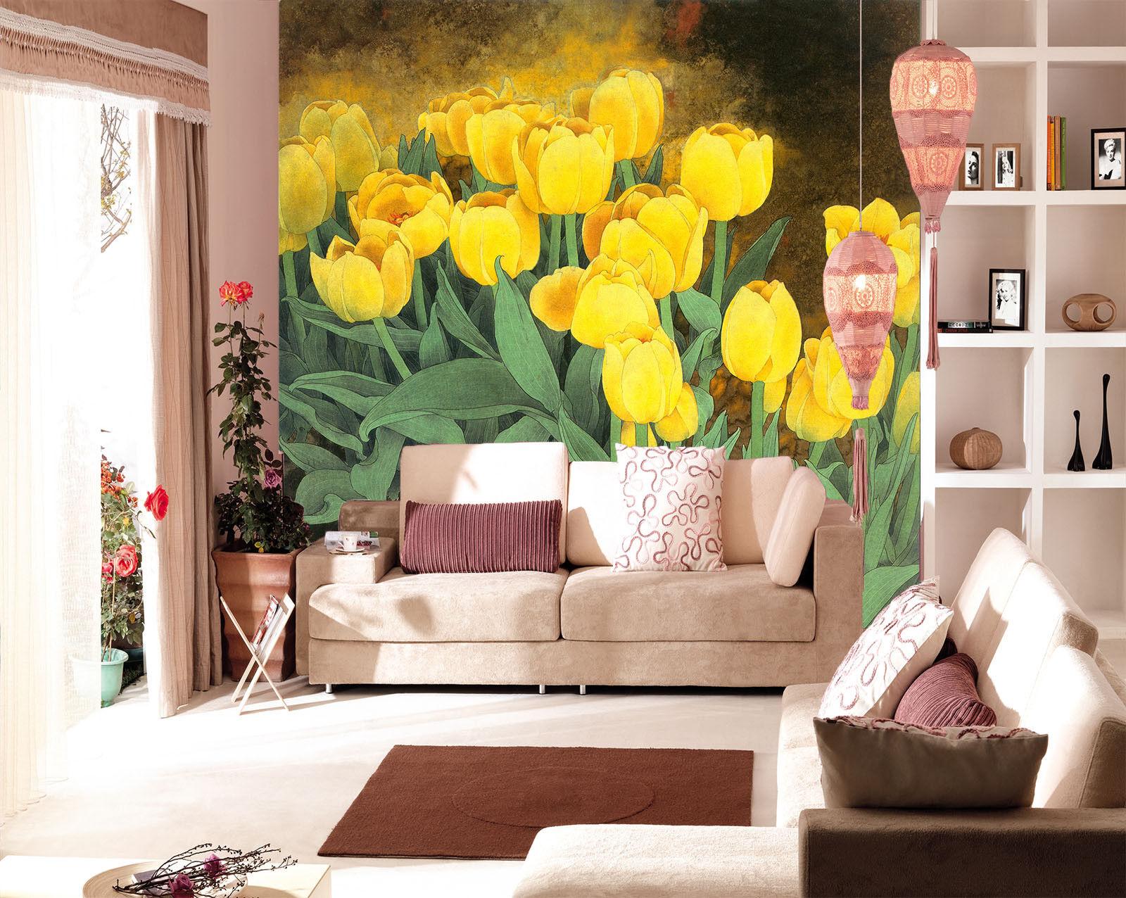 3D golden Tulip bluemenfeld 74 Tapete Wandgemälde Tapete Tapeten Bild Familie DE