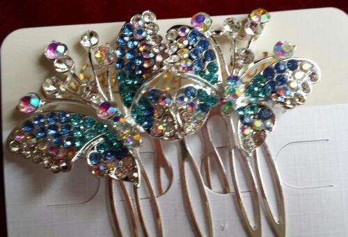 Pettine PER CAPELLI FARFALLA BLU//ROSA//VIOLA DIAMANTATI nuziale Prom Occasioni Regno Unito