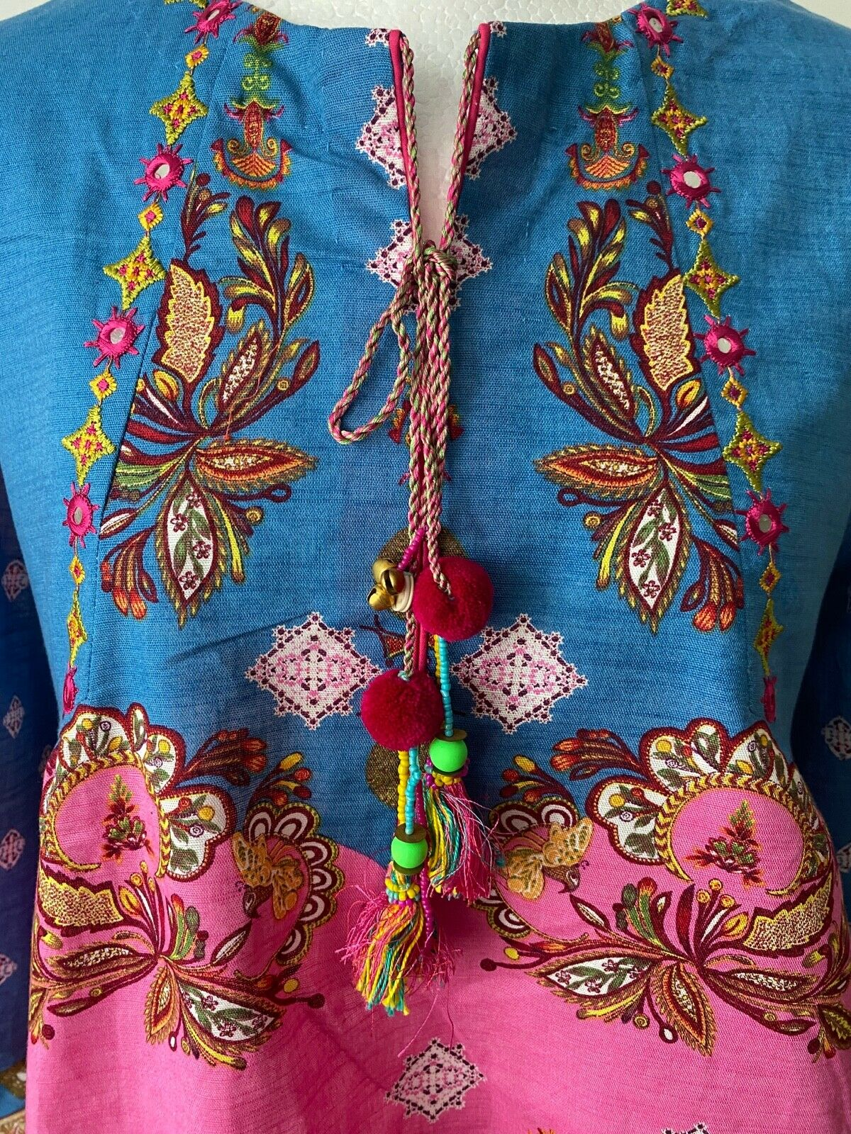 Ethnic by outfitters Fusion Tops Printed Top Embroidered Size M