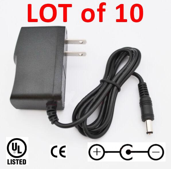 Lot of 10 Power Supplies - 9 Volt 1 Amps , 5.5 mm x 2.1mm Neg Center V 1000 mA